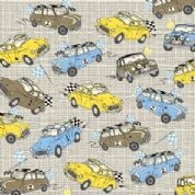 M Makower Transport - 3449 - Racing Minis on Beige Check - 6802 P15 - Cotton Fabric